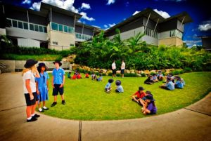 schoolkids in playground of school with Cleantech Solutions.